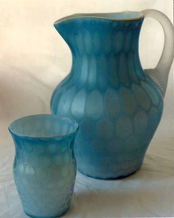 MOP Pitcher and Two Tumblers