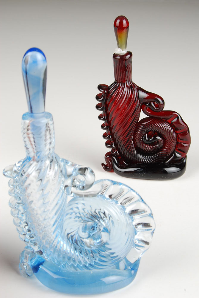 Seahorse Perfume Bottle, light cobalt blue