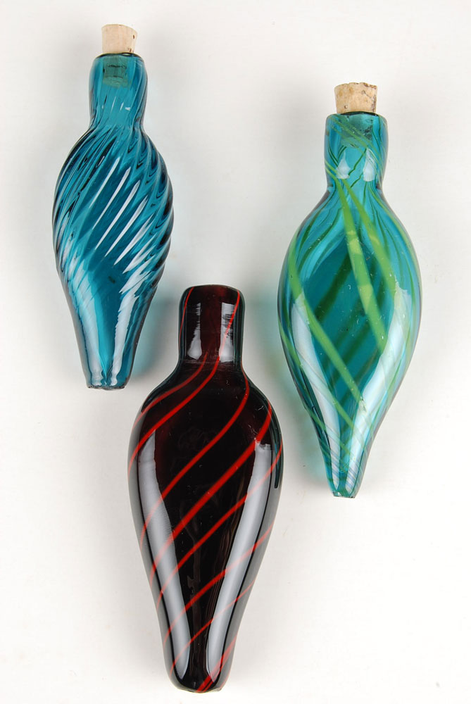 Scent Bottle, amethyst wtih red canes
