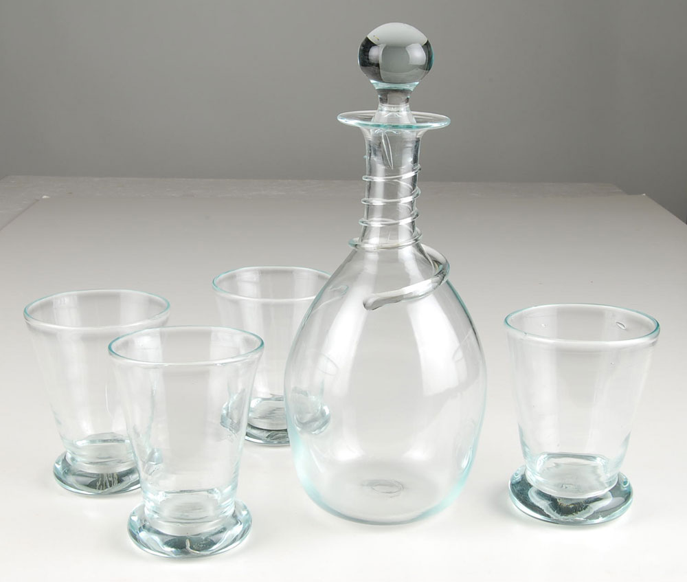 Decanter and Four Firing Glasses